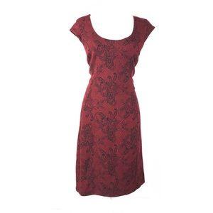 Ann Taylor dress lined paisley floral sheath knit